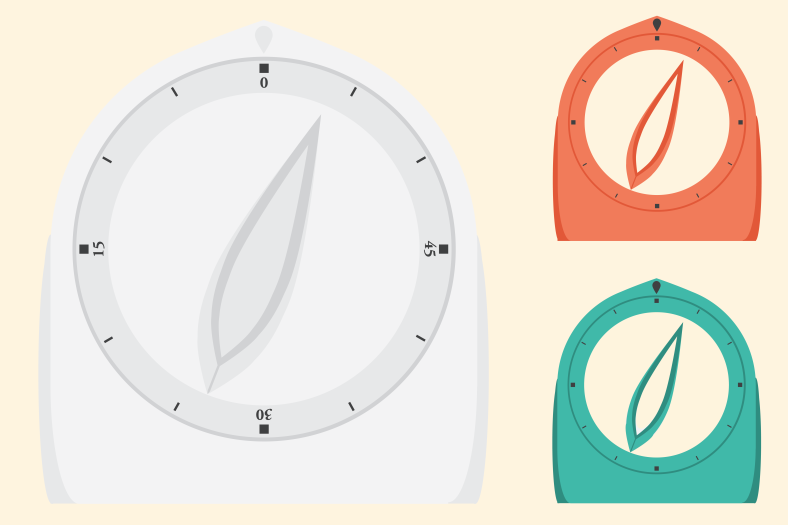Retro kitchen timers, illustrator